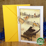 Дизайнерская открытка с конвертом Мелодия 195*140 мм