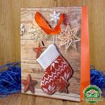 Подарочный пакет новогодний с глиттером и 3D аппликацией Носок (24*18*8 см)