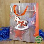 Подарочный пакет новогодний с глиттером и 3D аппликацией Лошадка (24*18*8 см)