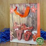 Подарочный пакет новогодний с глиттером и 3D аппликацией Лошадки (24*18*8 см)