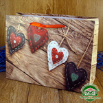 Подарочный пакет новогодний с глиттером Сердца (24*18*9 см)
