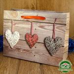 Подарочный пакет новогодний с глиттером Сердца k2 (24*18*9 см)