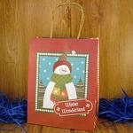 Подарочный пакет новогодний Снеговик (23*18*10 см)