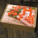 """Картонная подарочная коробка """"8 марта"""" №3"""