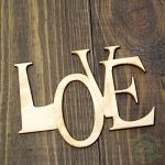 Слово из фанеры LOVE* 8*6 см