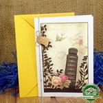 Дизайнерская открытка с конвертом Пизанская башня 195*140 мм