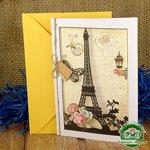 Дизайнерская открытка с конвертом Эйфелева башня 195*140 мм