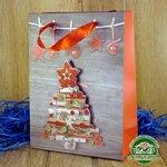 Подарочный пакет новогодний с глиттером и 3D аппликацией Елочка (24*18*8 см)
