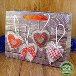 Подарочный пакет новогодний с глиттером Сердца k3 (24*18*9 см)
