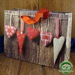 Подарочный пакет новогодний с глиттером Сердца k4 (24*18*9 см)