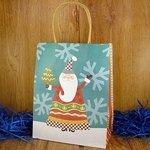 Подарочный пакет новогодний Дед Мороз и Елка (23*18*10 см)